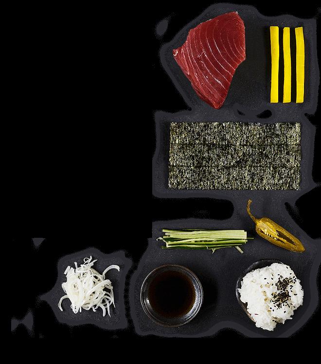 Składniki do Handrolla z tuńczykiem